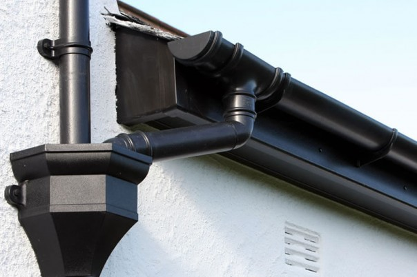 Black roof guttering & down pipe