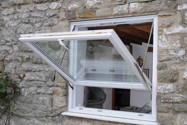 White window in open position