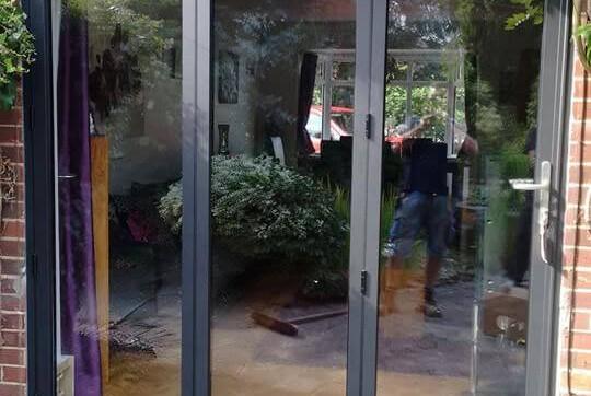 New aluminium bi-fold doors in closed position