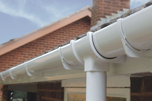 White roof guttering & down pipe