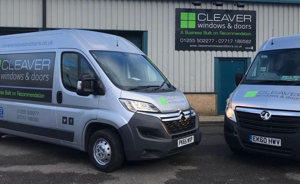 Cleaver Windows & Doors, vans parked outside our premises